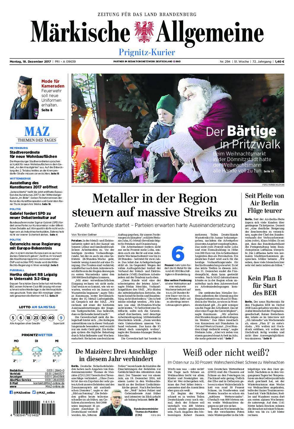 Märkische Allgemeine Prignitz Kurier - 18. Dezember 2017