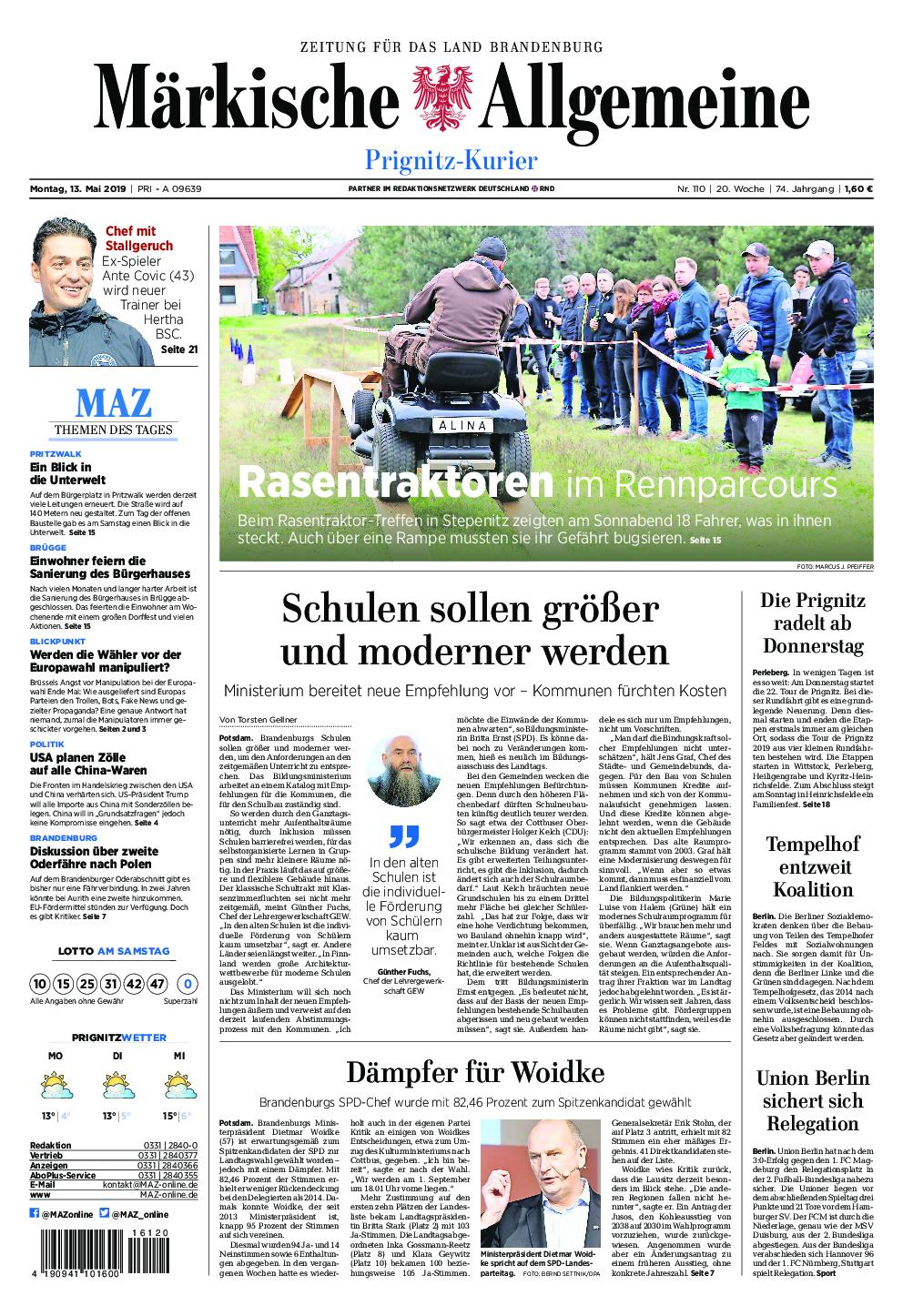 Märkische Allgemeine Prignitz Kurier - 13. Mai 2019