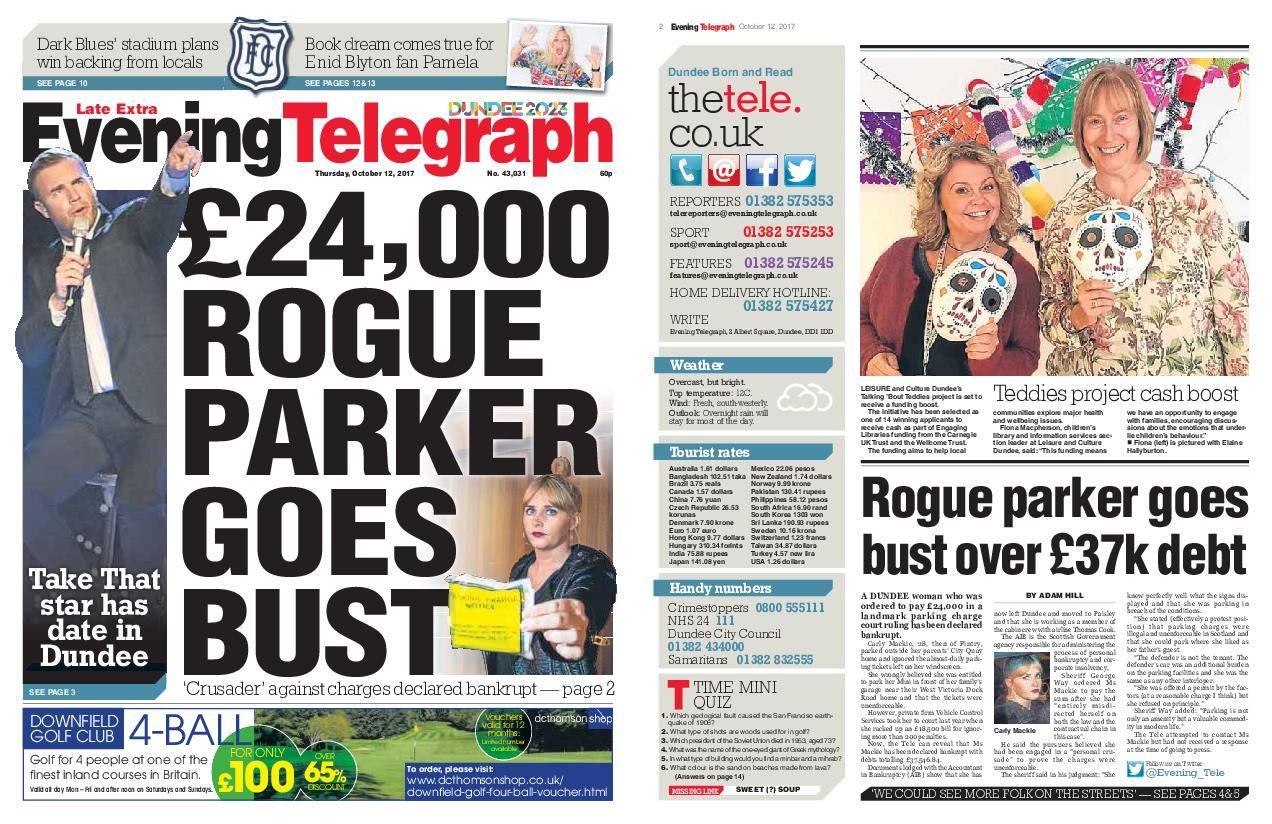Evening Telegraph Late Edition – October 12, 2017