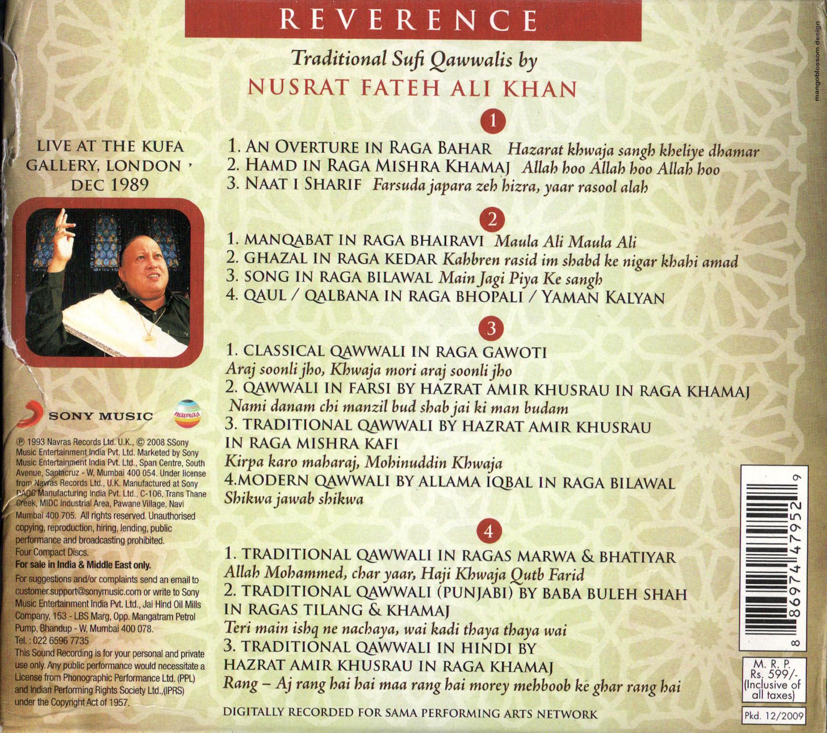 Nusrat Fateh Ali Khan - Reverence: Traditional Sufi Qawwalis