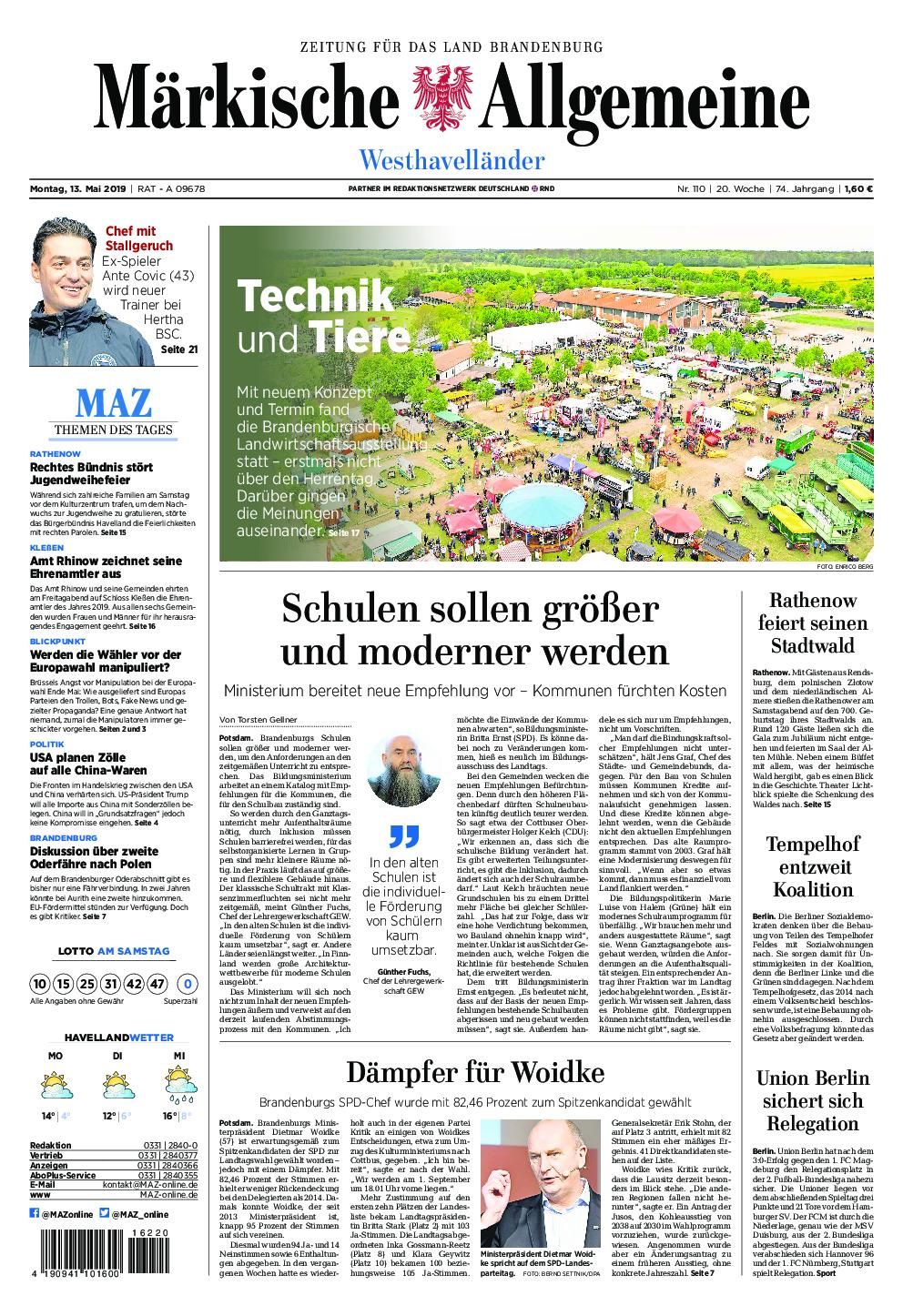 Märkische Allgemeine Westhavelländer - 13. Mai 2019