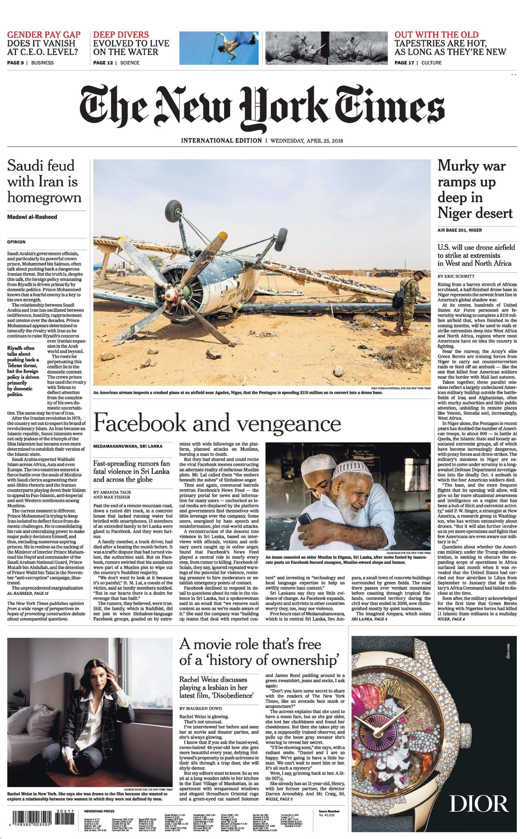 International New York Times - 25 April 2018