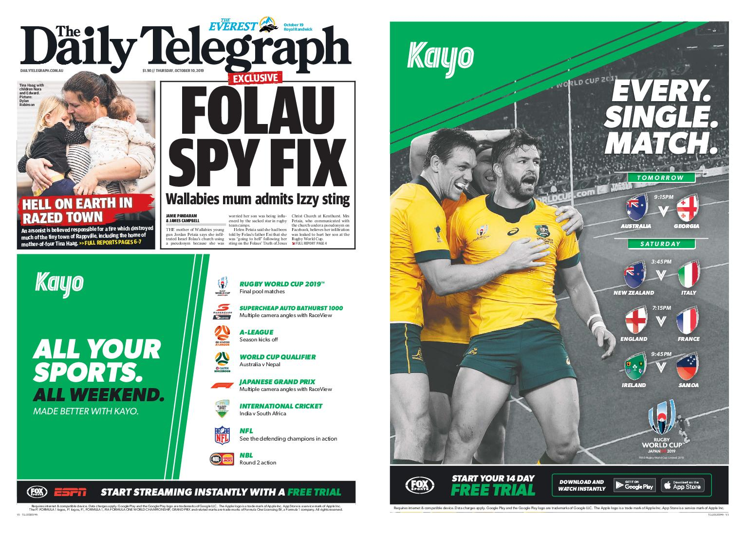 The Daily Telegraph (Sydney) – October 10, 2019