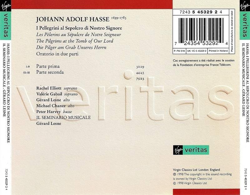 Gerard Lesne, Il Seminario Musicale - Hasse: I Pellegrini al Sepolcro di Nostro Signore (1998)