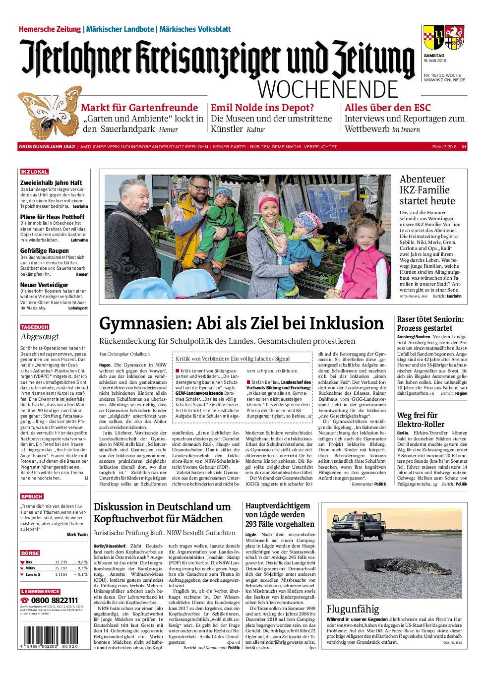 IKZ Iserlohner Kreisanzeiger und Zeitung Hemer - 18. Mai 2019