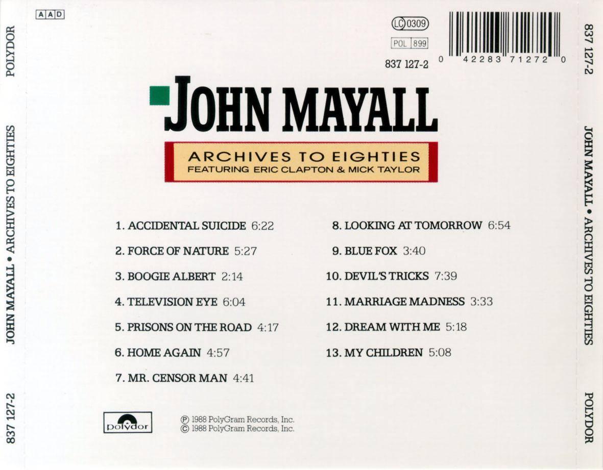 MUSIC  John Mayall - Archives to Eighties 1990