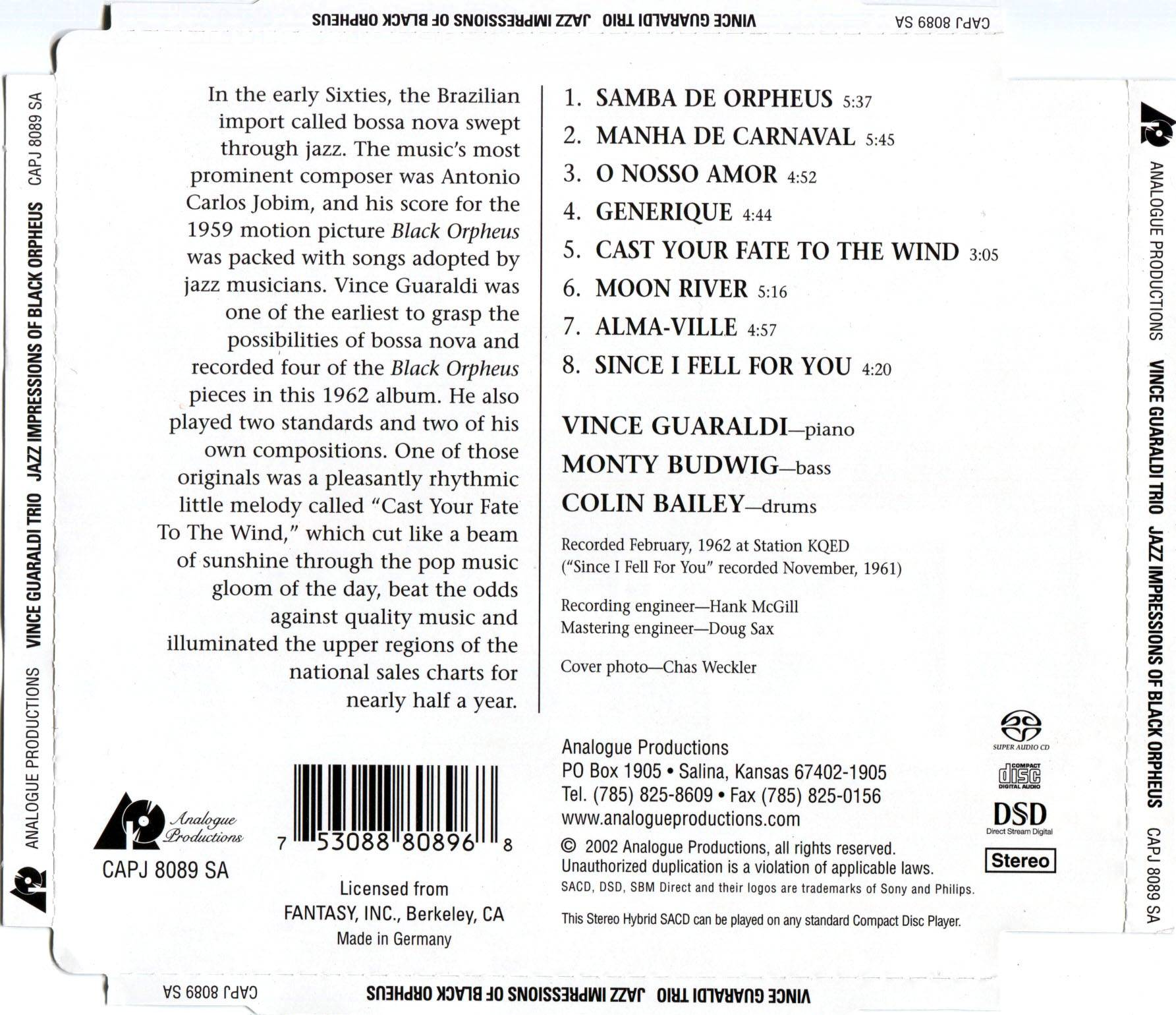 Vince Guaraldi Trio Jazz Impressions Of Black Orpheus