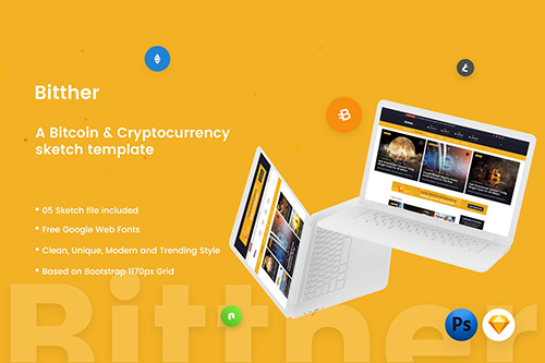 Bitther - Cryptocurrency Magazine Sketch Template