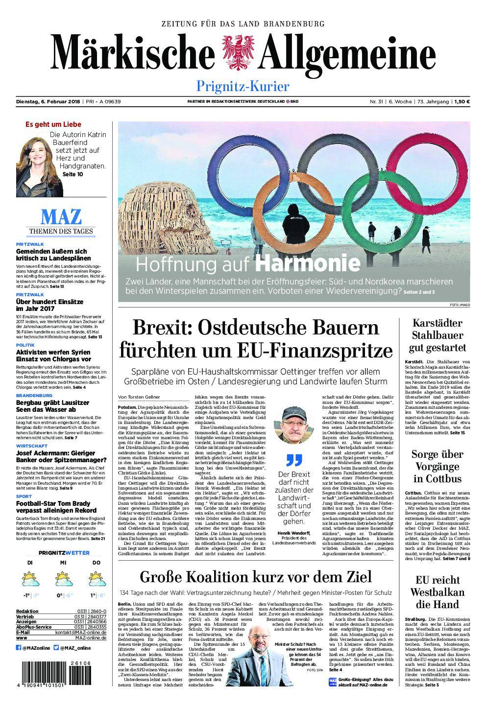 Märkische Allgemeine Prignitz Kurier - 06. Februar 2018