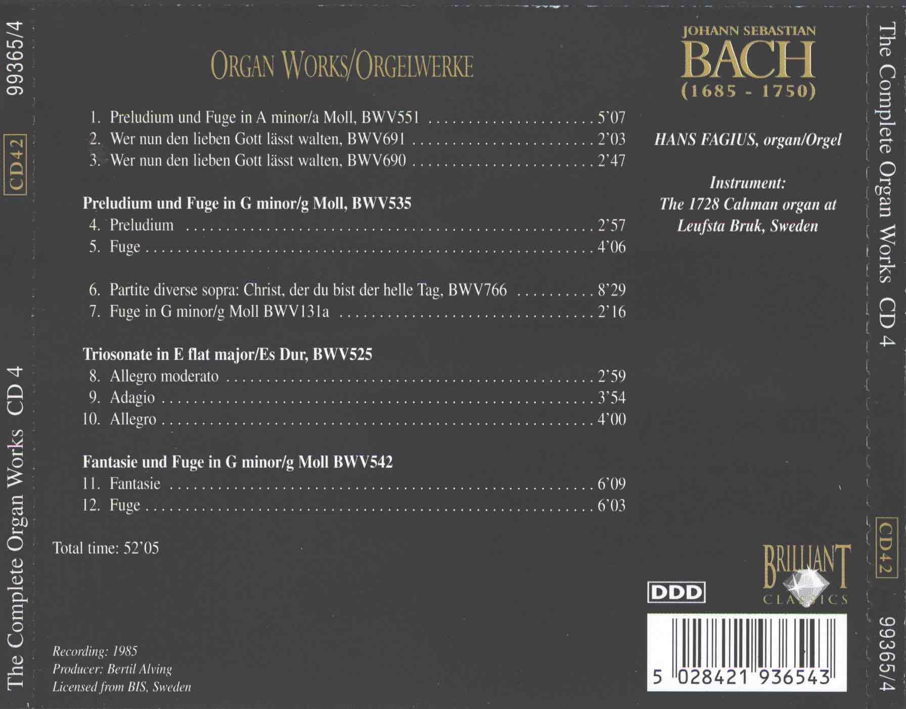J.S.Bach - The Complete Organ Works CD 4 - Hans Fagius