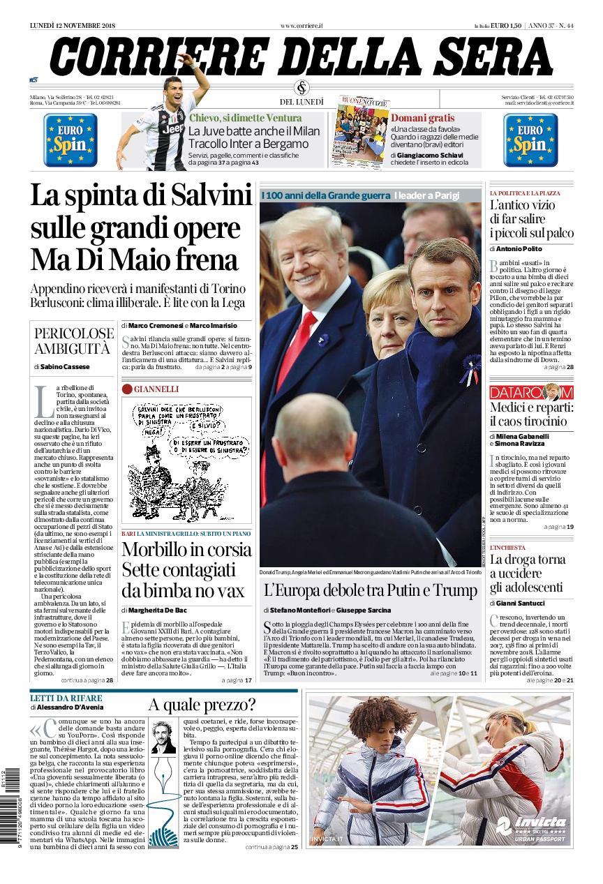 Corriere della Sera – 12 novembre 2018