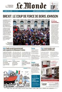 Le Monde du Vendredi 30 Août 2019