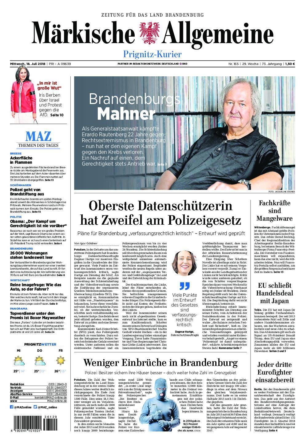 Märkische Allgemeine Prignitz Kurier - 18. Juli 2018