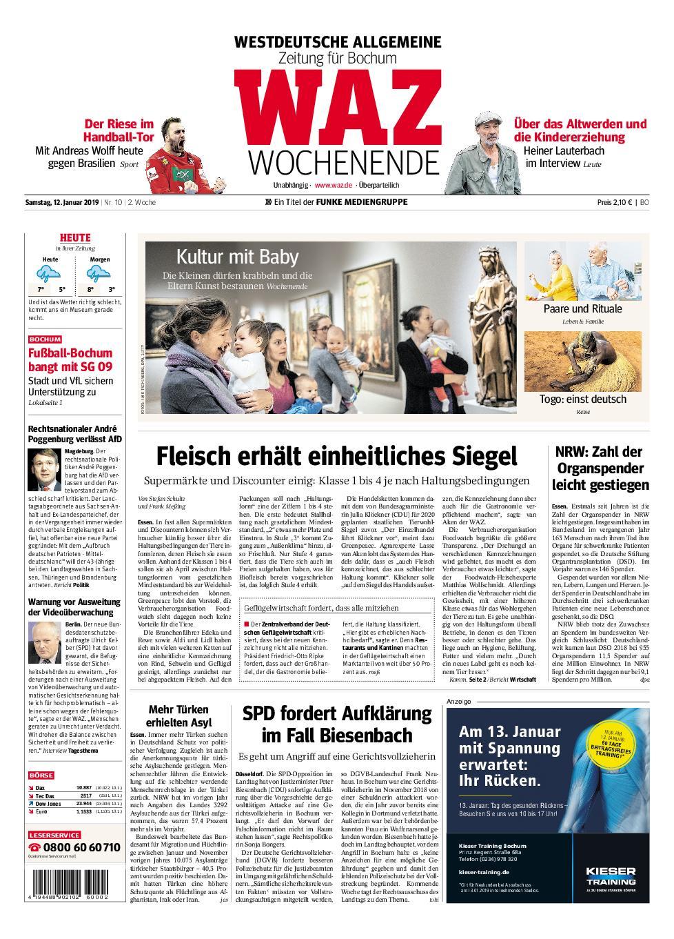 WAZ Westdeutsche Allgemeine Zeitung Bochum-Ost - 12. Januar 2019