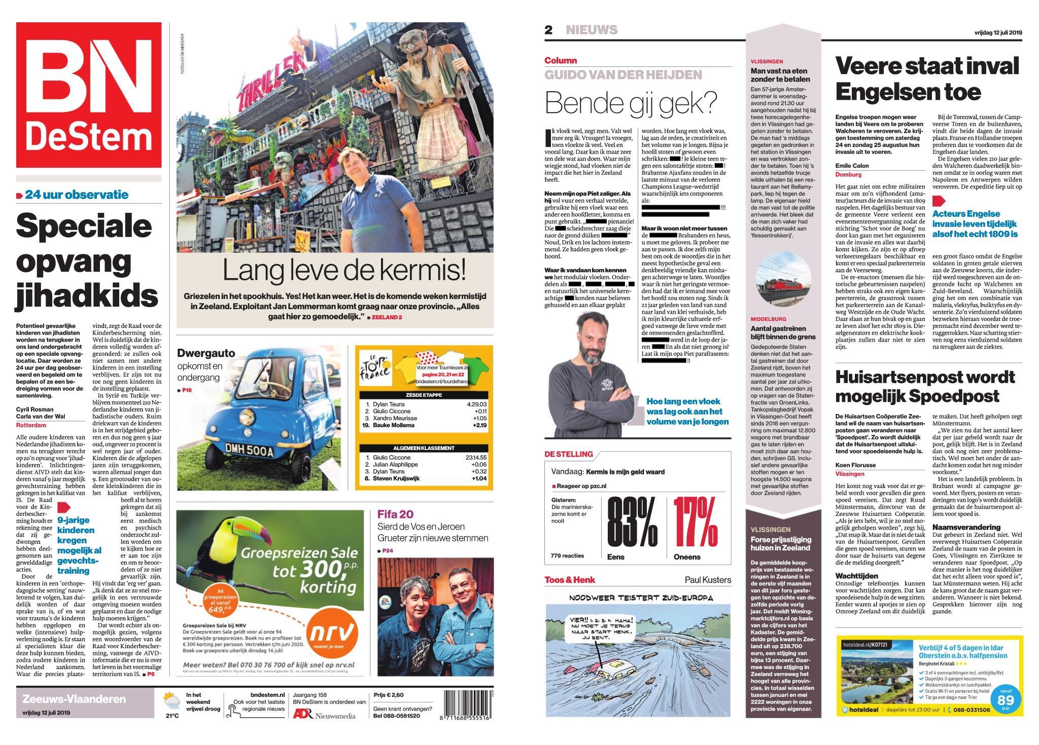 BN DeStem - Zeeuws-Vlaanderen – 12 juli 2019