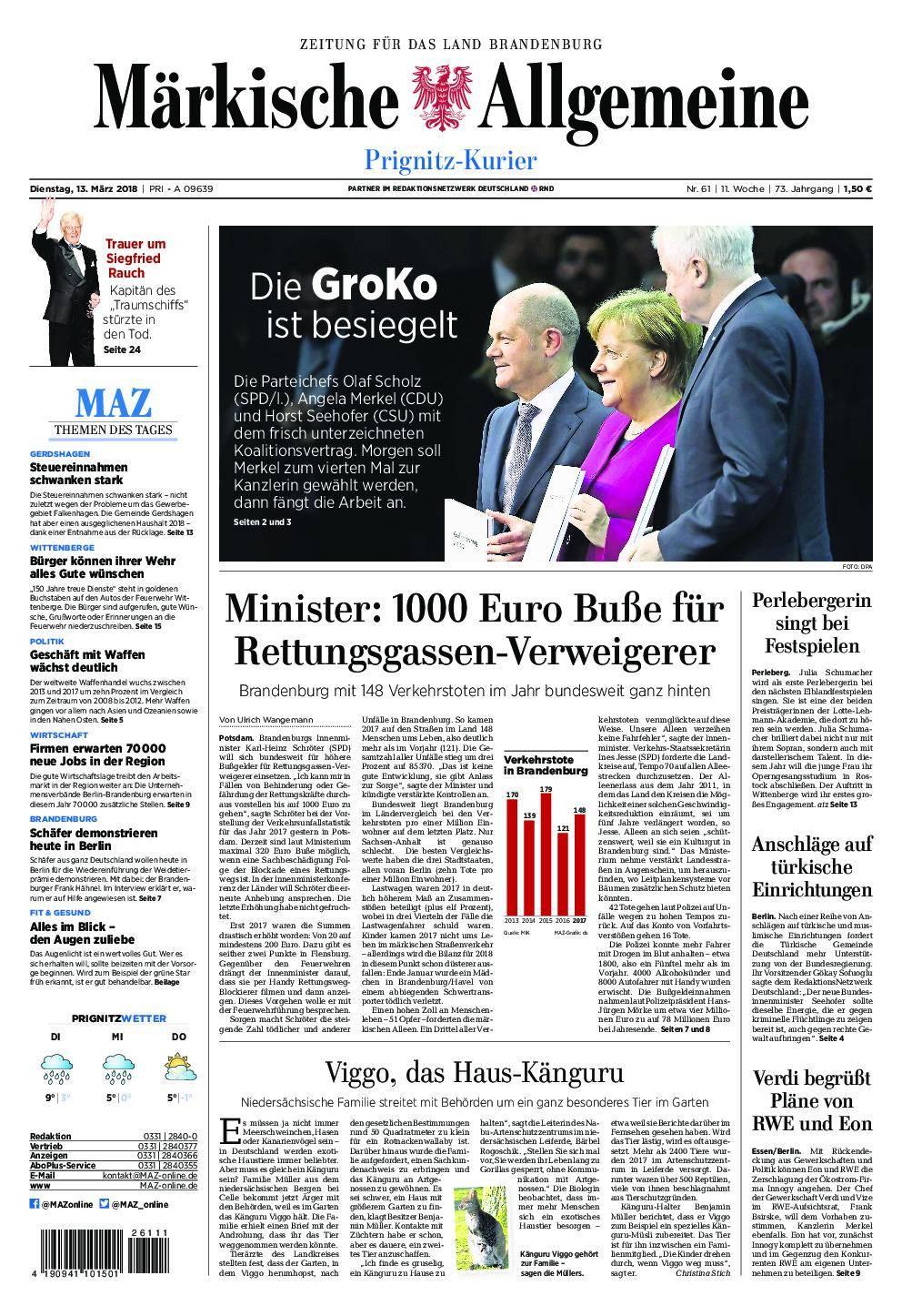 Märkische Allgemeine Prignitz Kurier - 13. März 2018