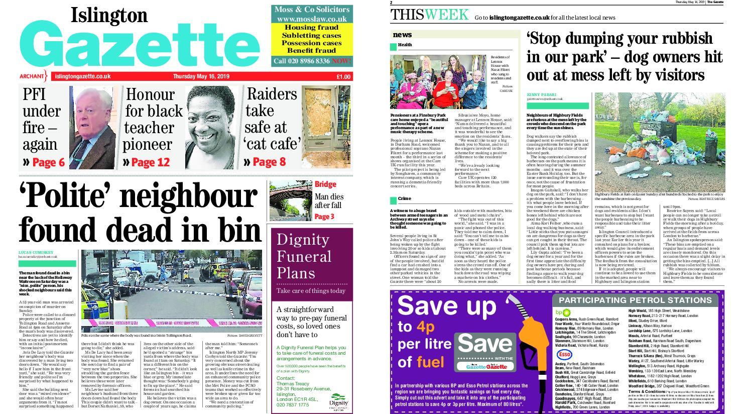 Islington Gazette – May 16, 2019
