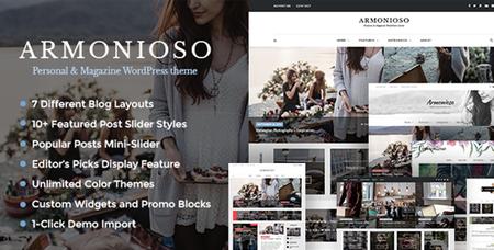 ThemeForest - Armonioso v1.2.9 - Personal & Magazine WordPress Responsive Blog Theme - 14852662