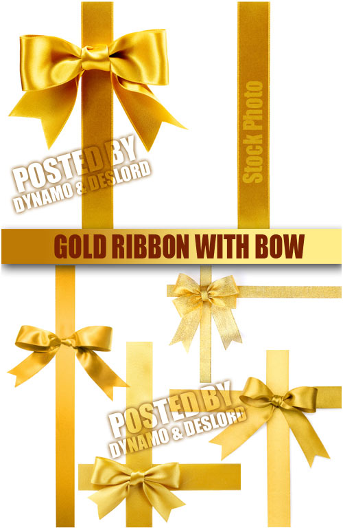 Gold ribbon with bow - UHQ Stock Photo