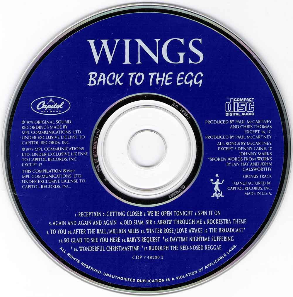 Wings - Back To The Egg (1979) {1989 Capitol} **[REPOST