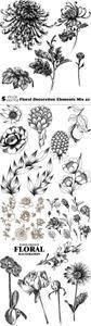 Vectors - Floral Decoration Elements Mix 41