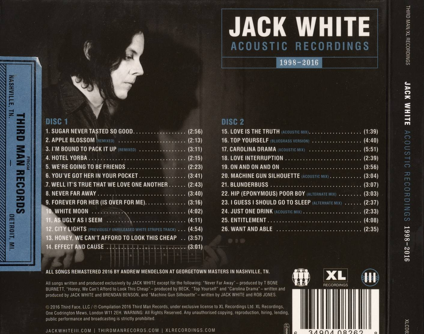 Jack White Acoustic Recordings 1998 2016 2016 2cd Xl