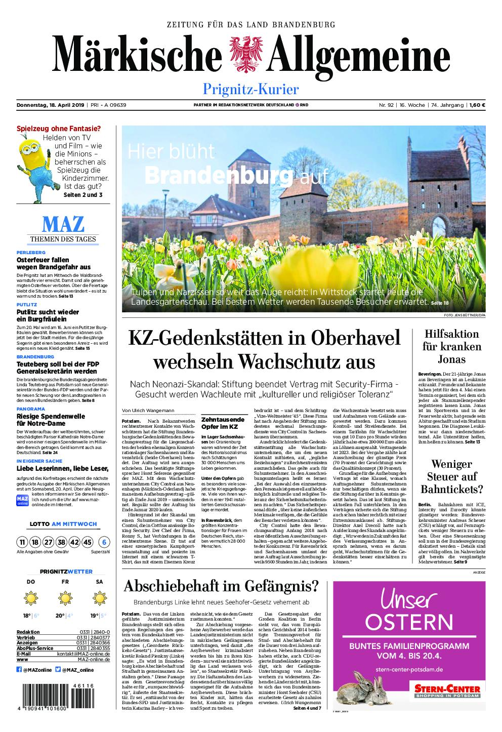 Märkische Allgemeine Prignitz Kurier - 18. April 2019