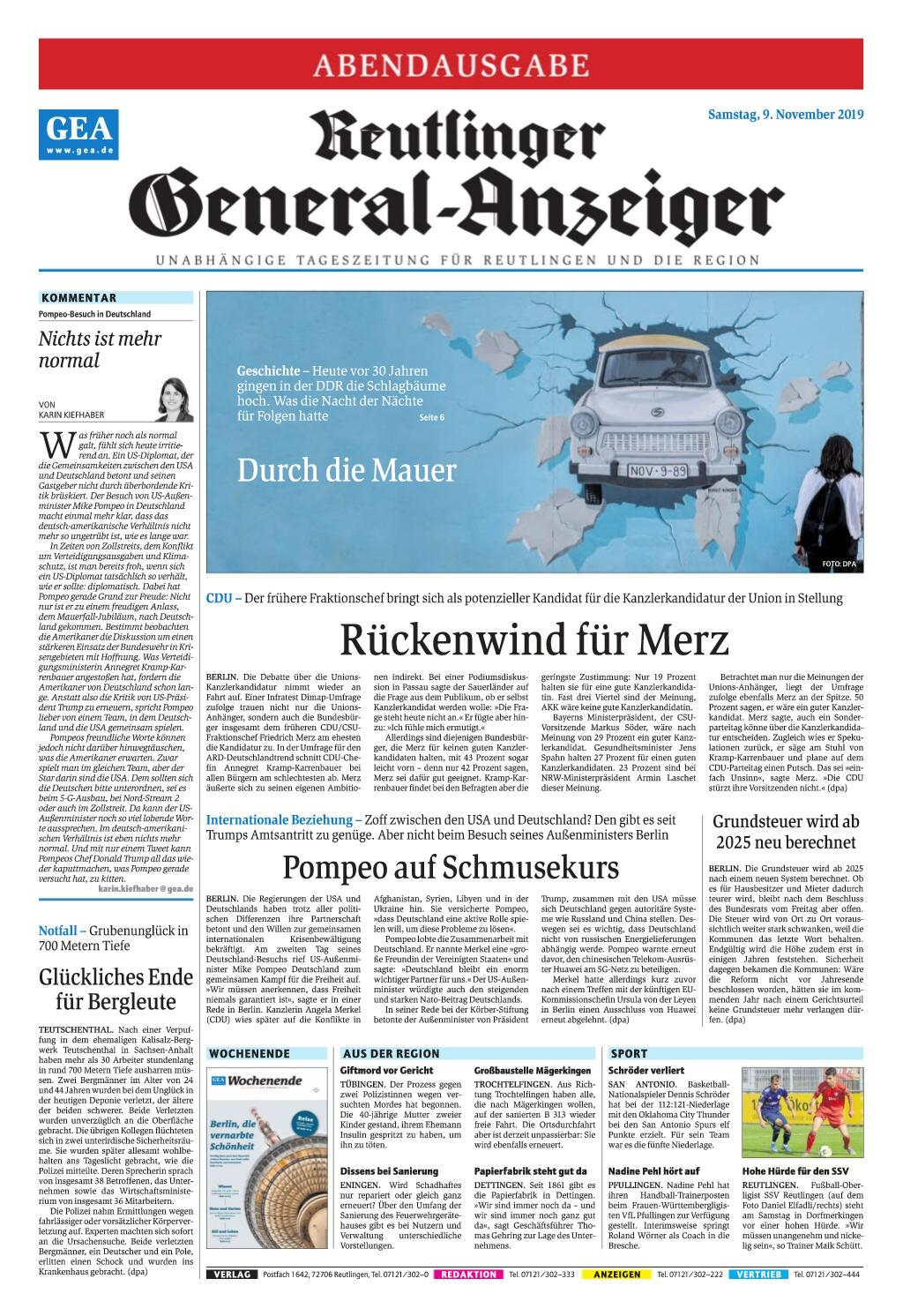 Reutlinger General-Anzeiger - 09. November 2019