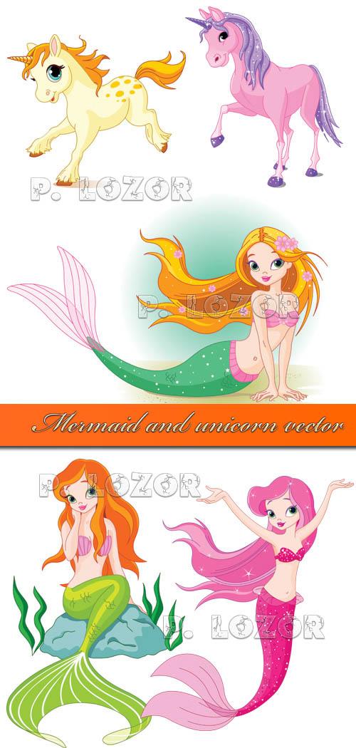 Mermaid and unicorn vector