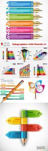 Vectors - Infographics with Pencils 17