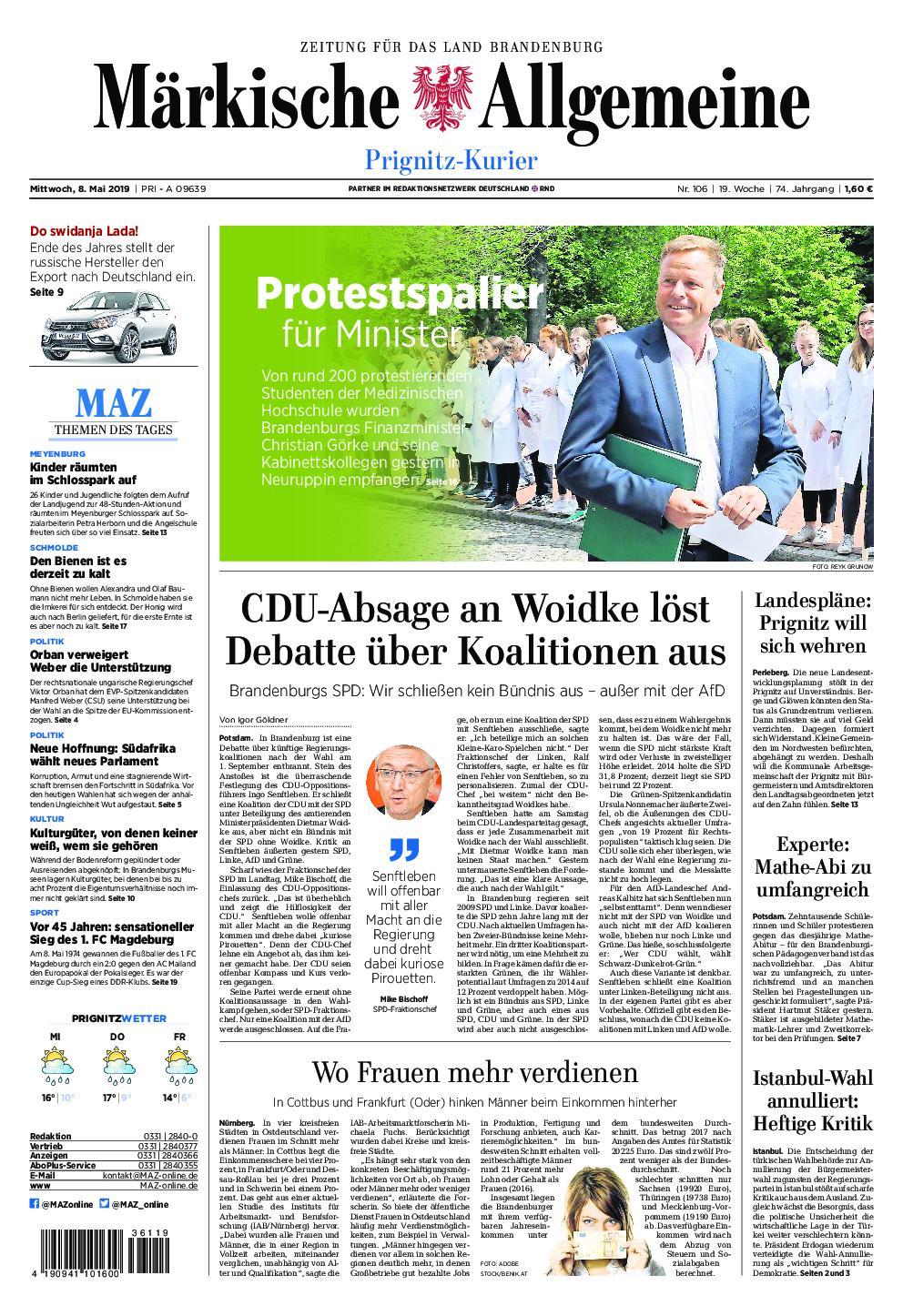 Märkische Allgemeine Prignitz Kurier - 08. Mai 2019
