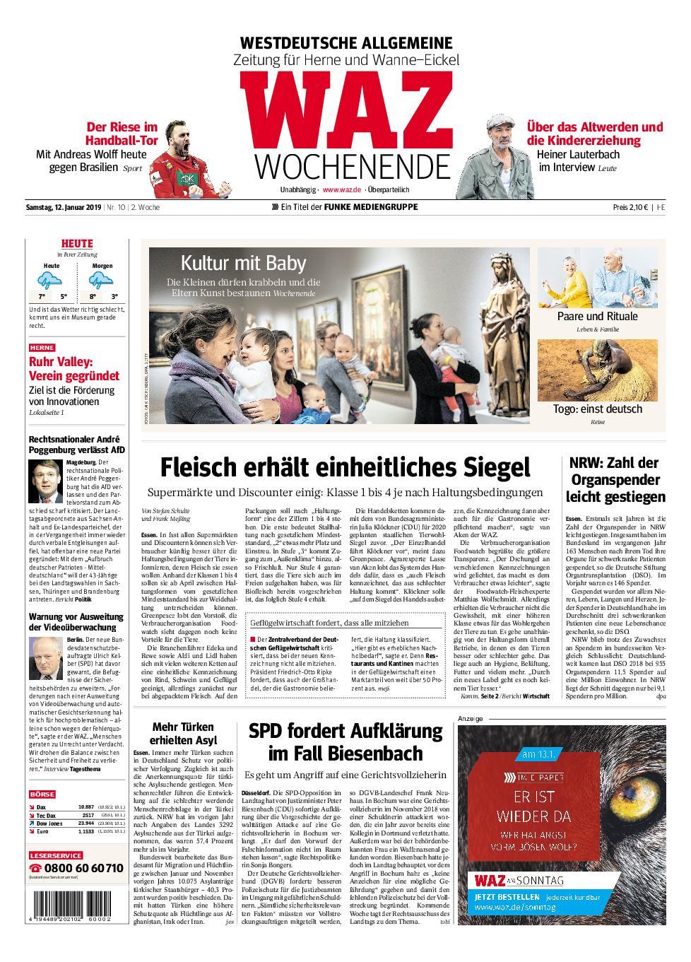 WAZ Westdeutsche Allgemeine Zeitung Herne - 12. Januar 2019