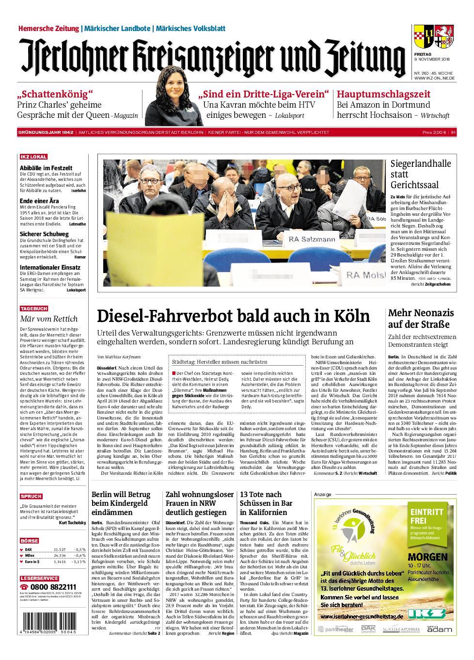 IKZ Iserlohner Kreisanzeiger und Zeitung Hemer - 09. November 2018
