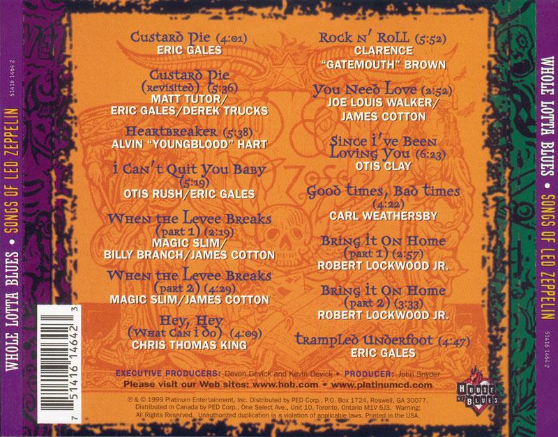 Va Whole Lotta Blues Songs Of Led Zeppelin 1999