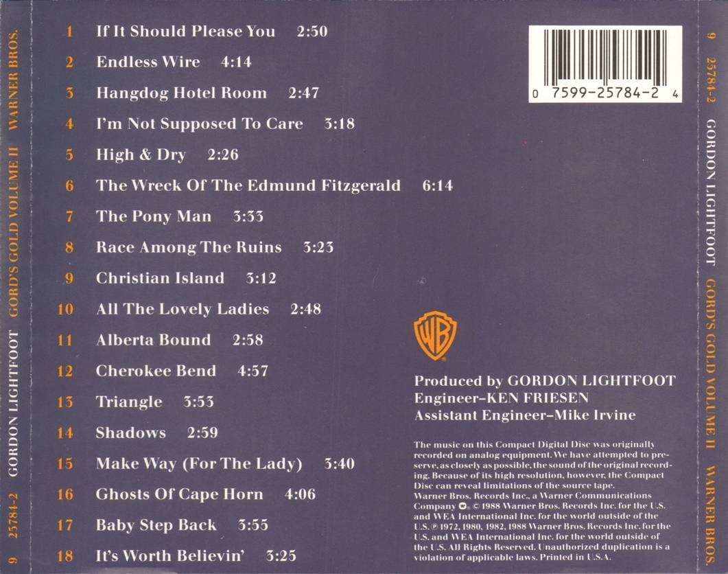 Gordon Lightfoot - Gord's Gold, Volume II (1988)