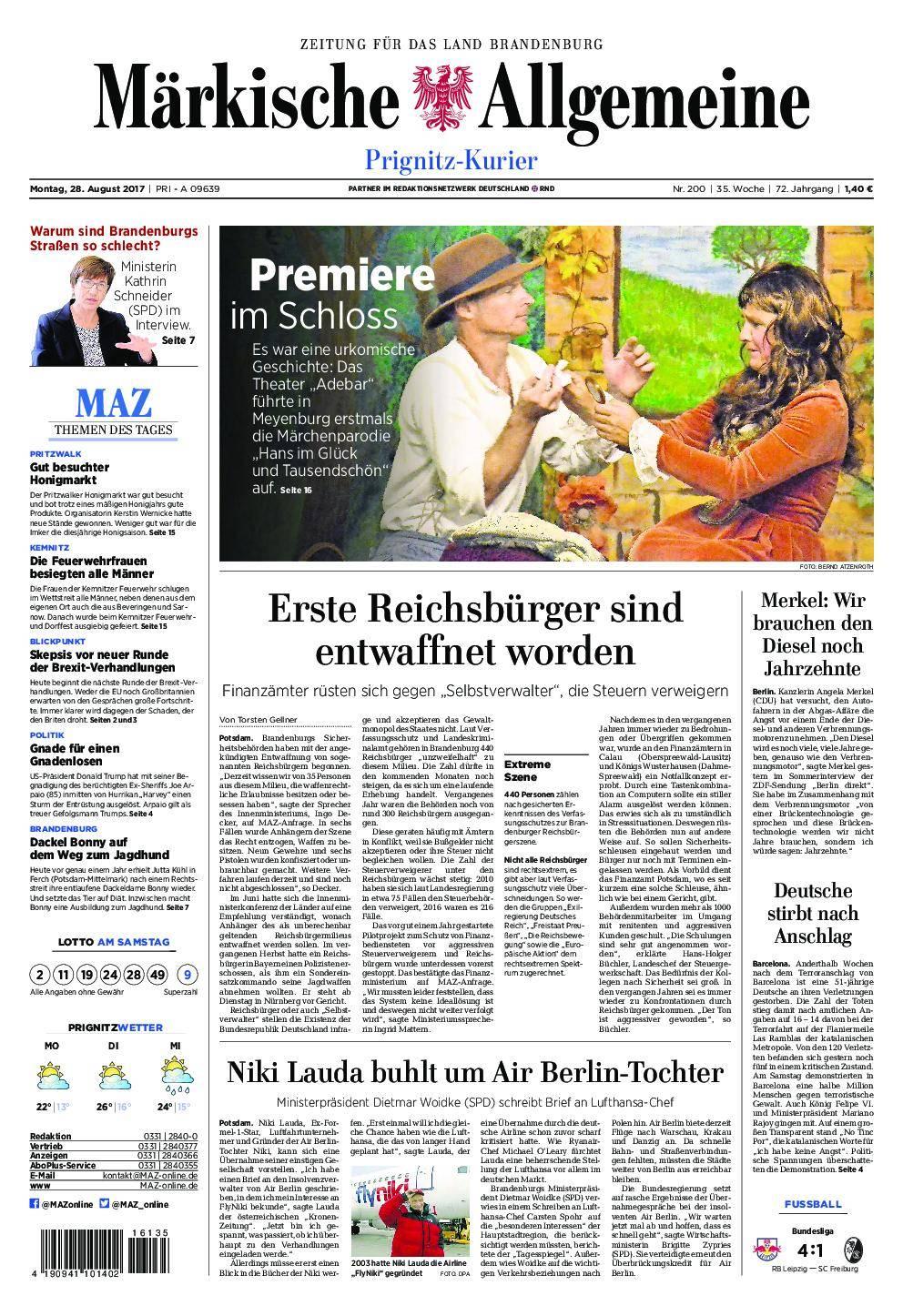 Märkische Allgemeine Prignitz Kurier - 28. August 2017
