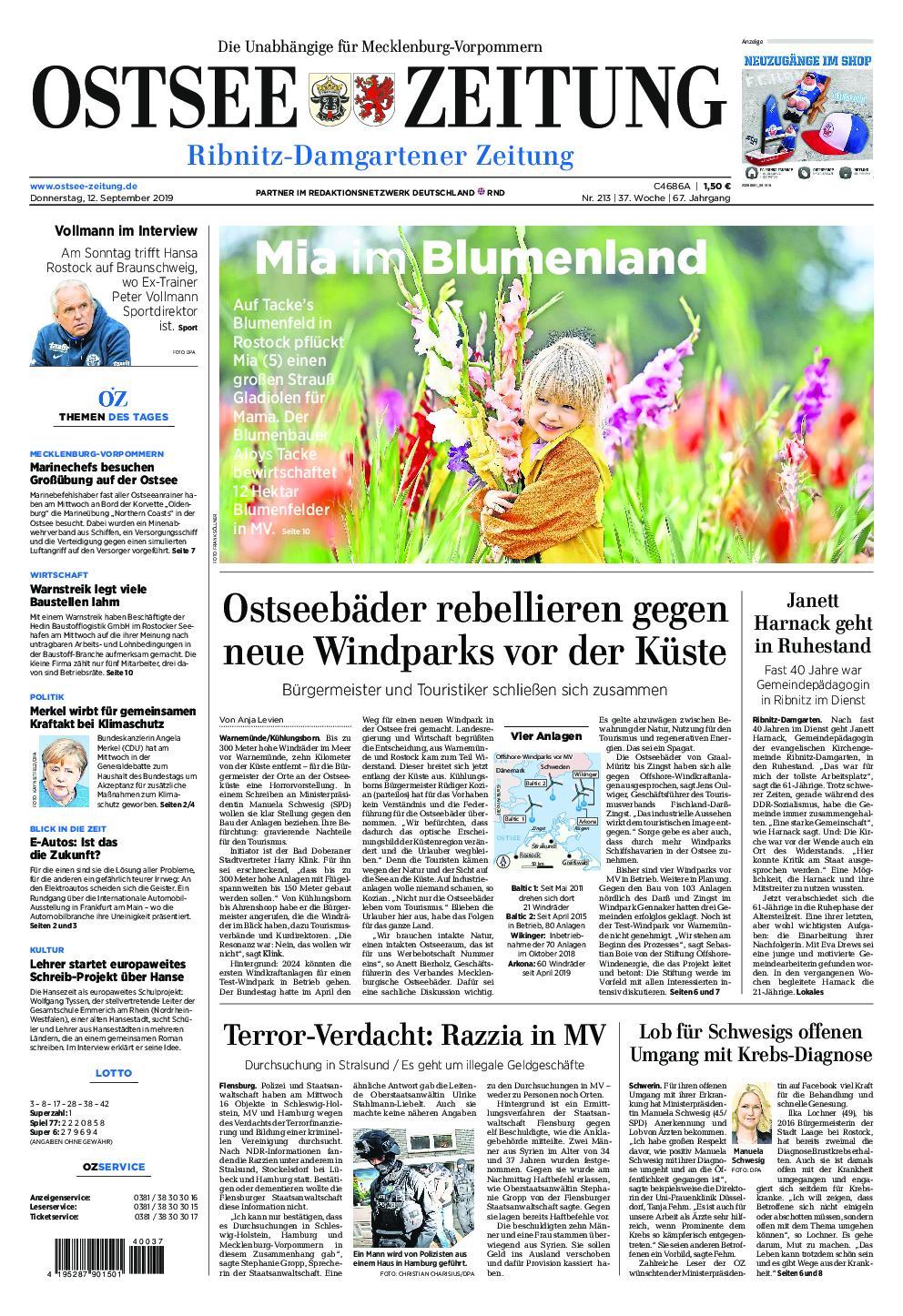 Ostsee Zeitung Ribnitz-Damgarten - 12. September 2019