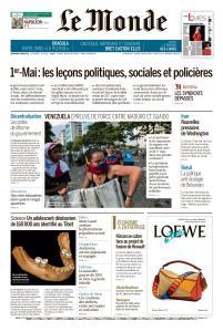 Le Monde du Vendredi 3 Mai 2019