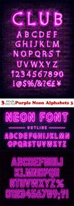 Vectors - Purple Neon Alphabets 3