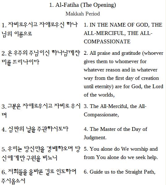 한국어 - 영어 이중 언어 꾸란 번역 Koran-English Bilingual Qur'an Translation