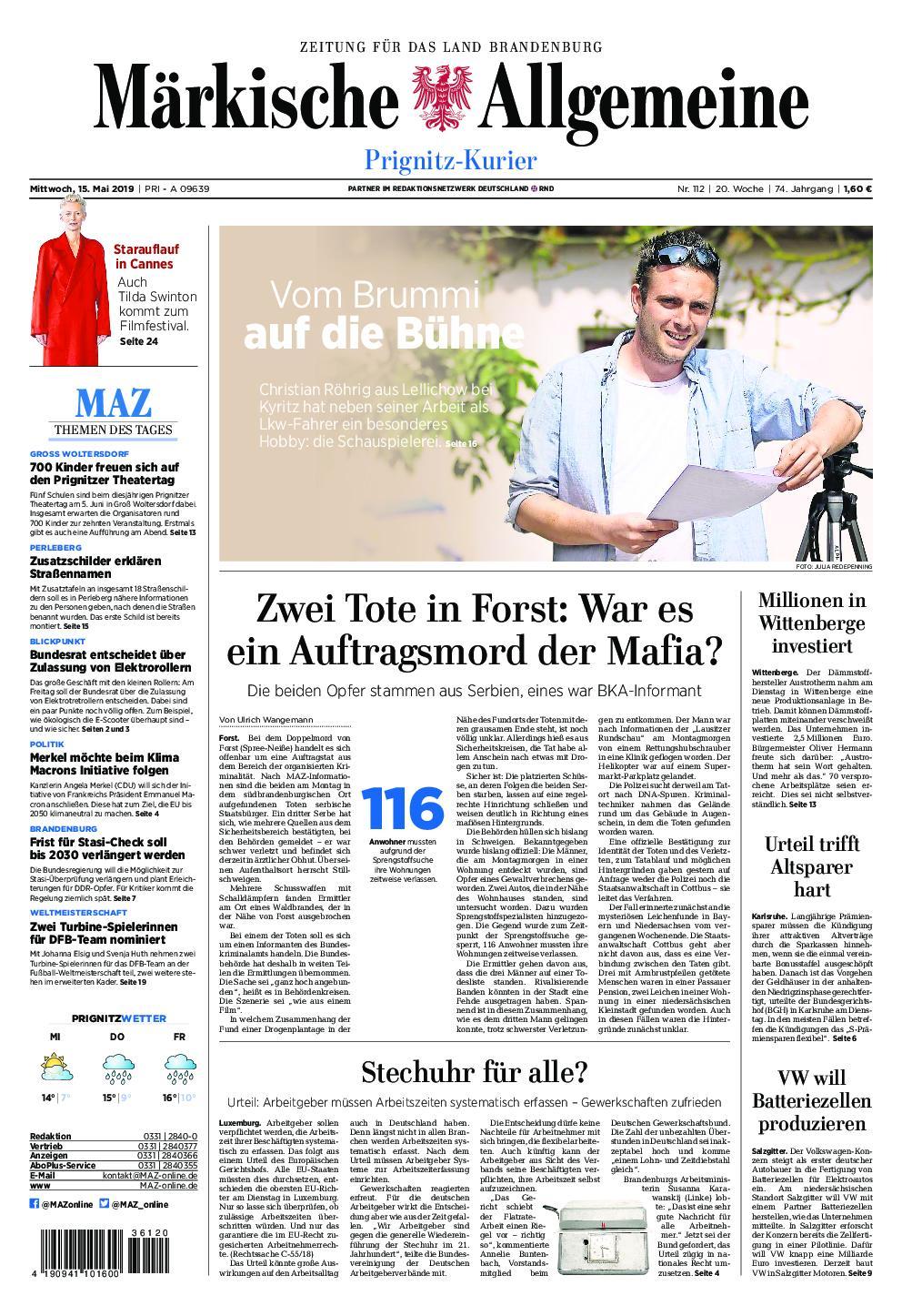 Märkische Allgemeine Prignitz Kurier - 15. Mai 2019