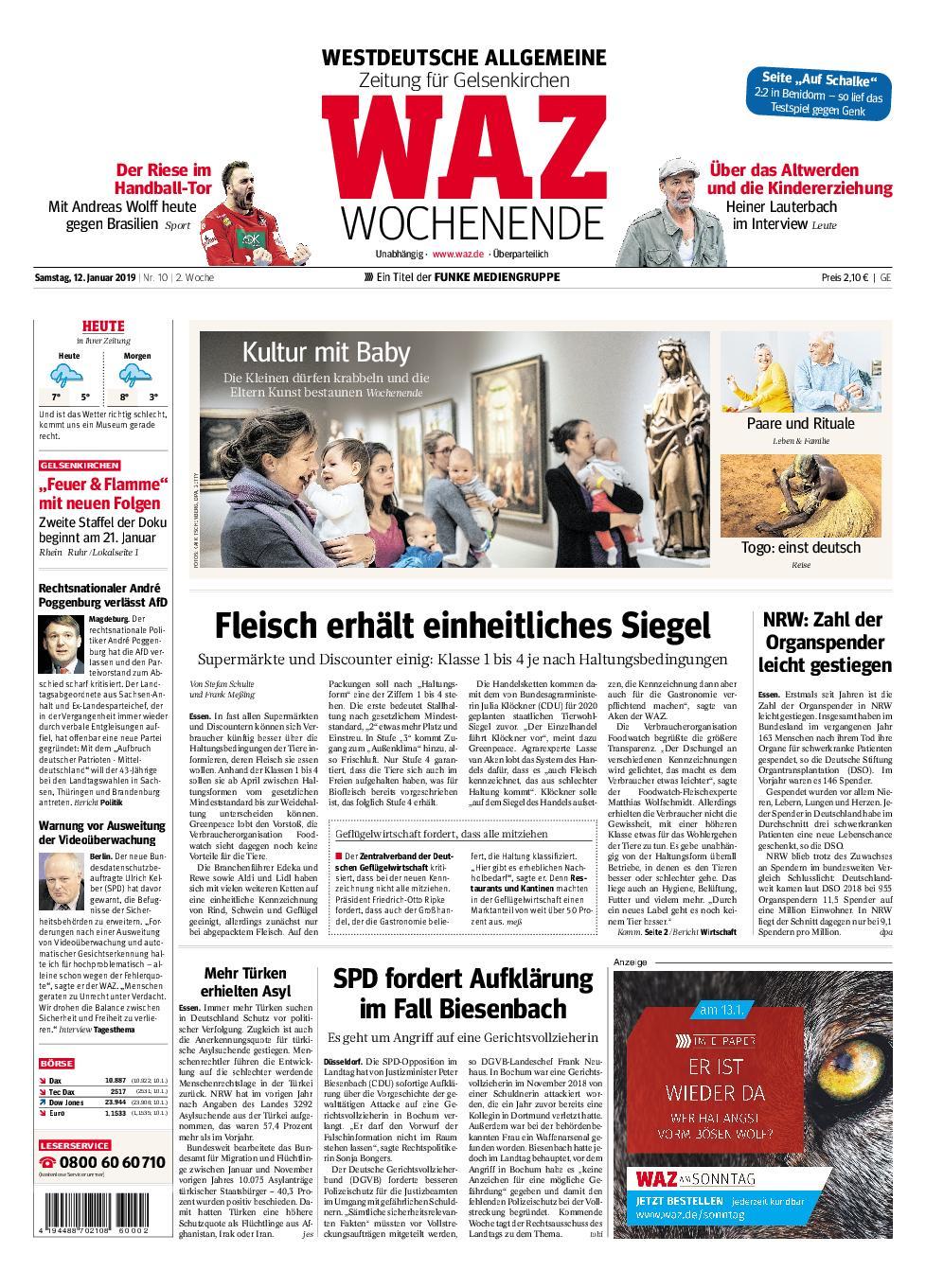 WAZ Westdeutsche Allgemeine Zeitung Gelsenkirchen - 12. Januar 2019