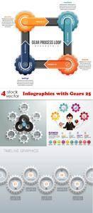 Vectors - Infographics with Gears 25