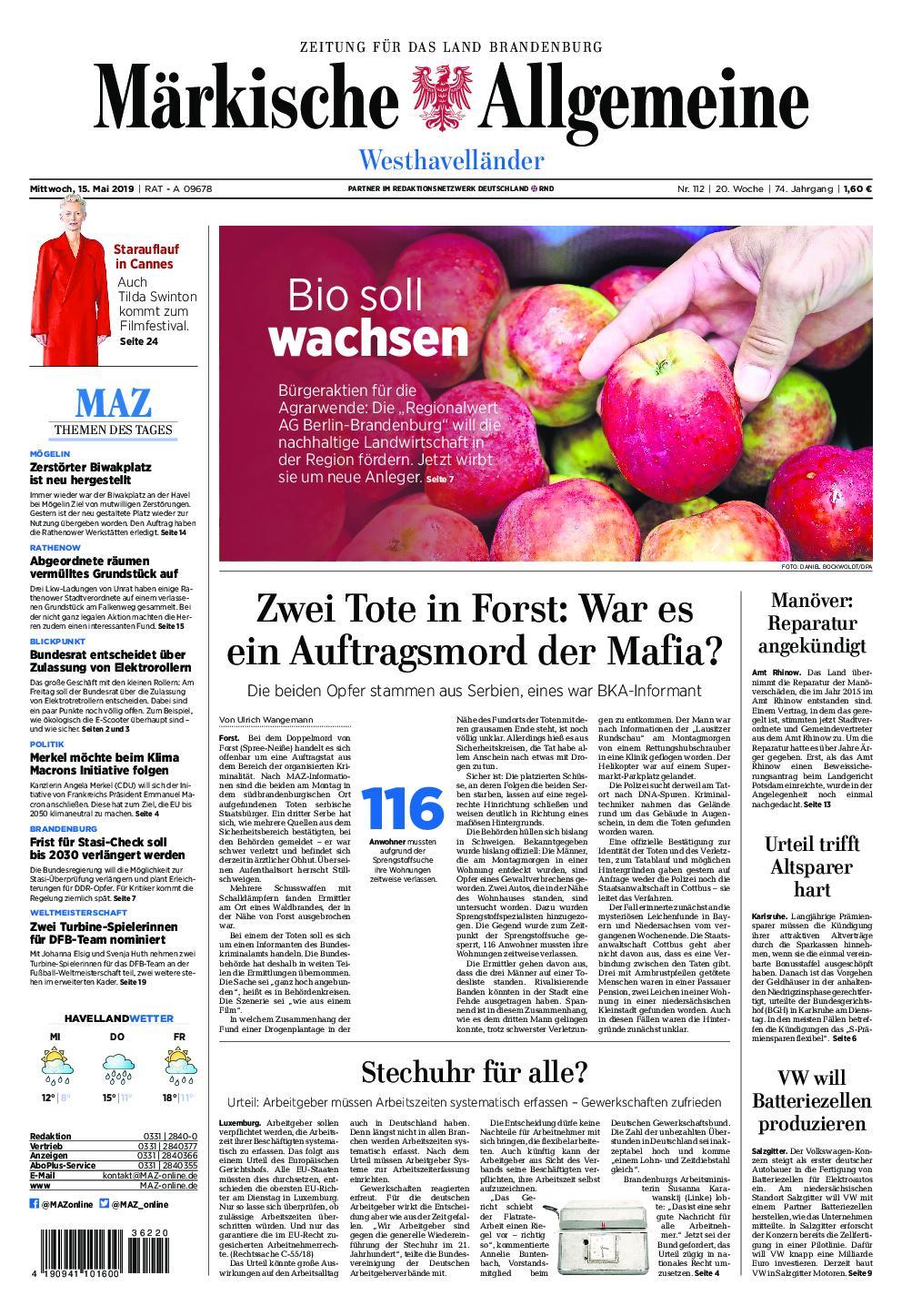Märkische Allgemeine Westhavelländer - 15. Mai 2019
