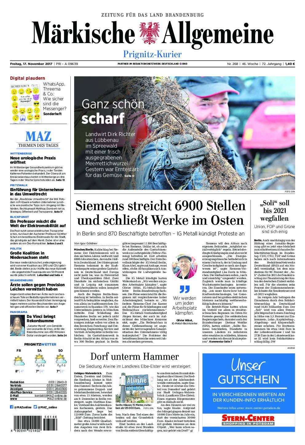 Märkische Allgemeine Prignitz Kurier - 17. November 2017
