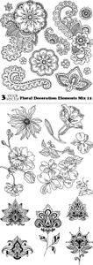 Vectors - Floral Decoration Elements Mix 12