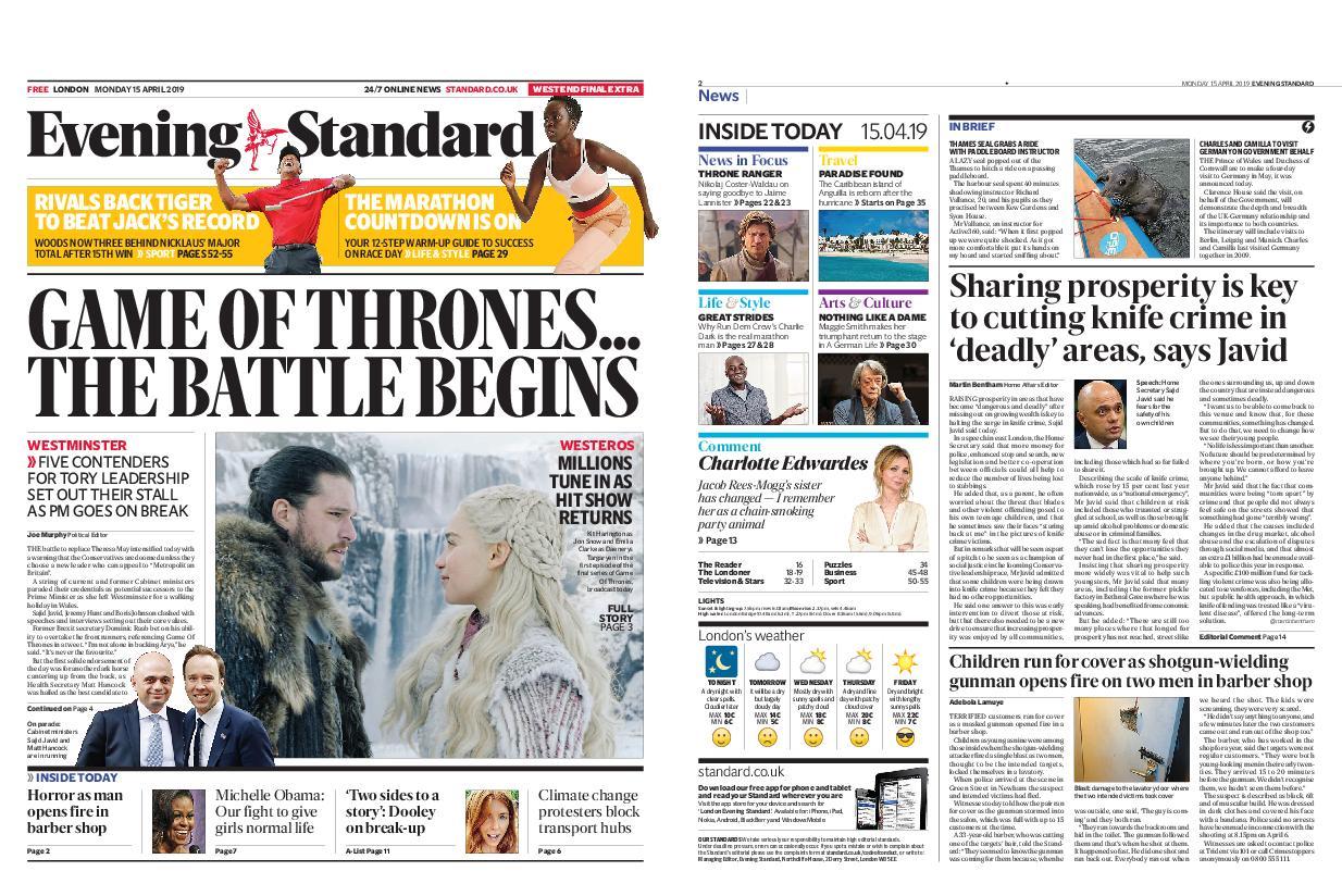 London Evening Standard – April 15, 2019