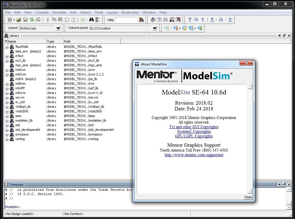 Mentor Graphics ModelSim SE-64 10.6d