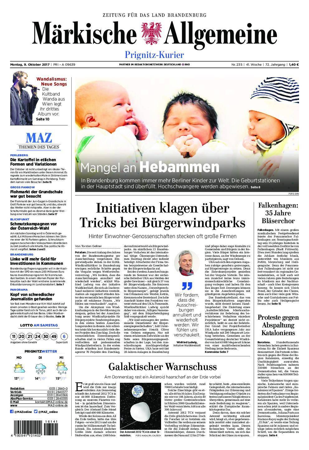 Märkische Allgemeine Prignitz Kurier - 09. Oktober 2017