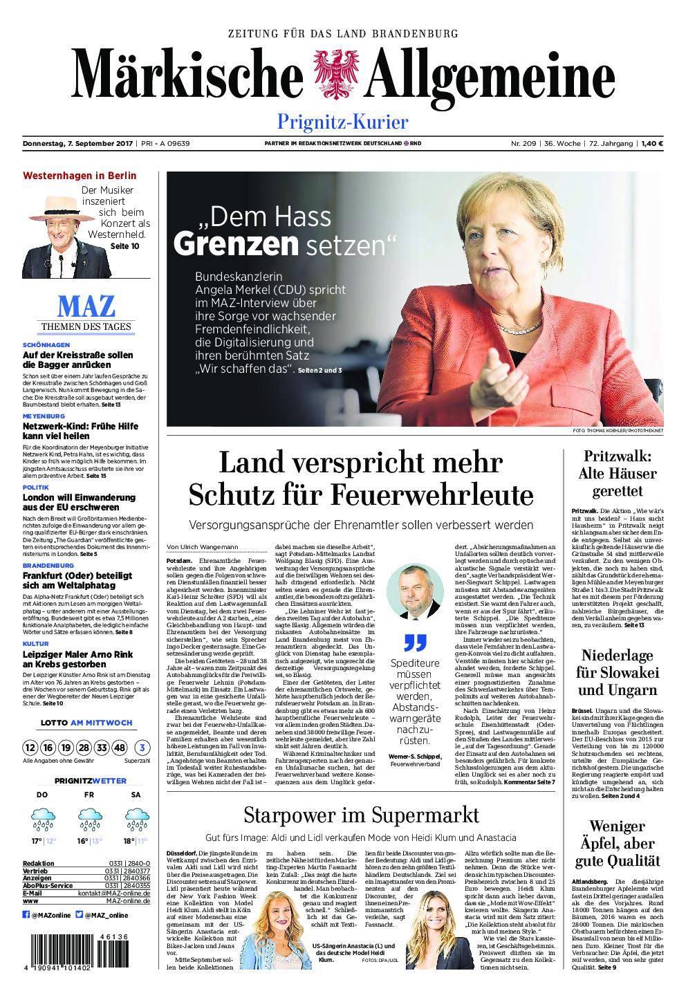 Märkische Allgemeine Prignitz Kurier - 07. September 2017